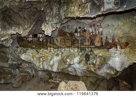 Wooden Statues Of Tau Tau And Coffins In Tampangallo Burial Cave At Tana Toraja. Indonesia