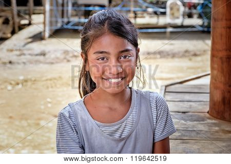 Portrait Of Indonesian Girl In Tana Toraja