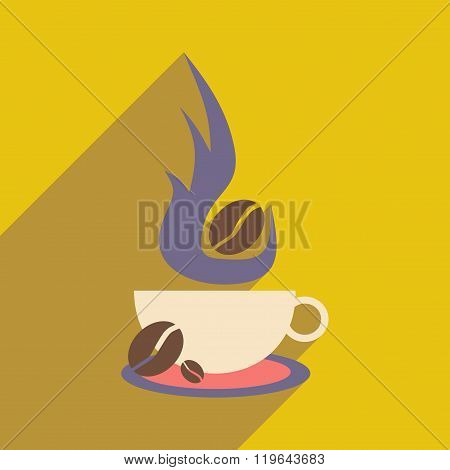 Flat with shadow icon and mobile application coffee aroma