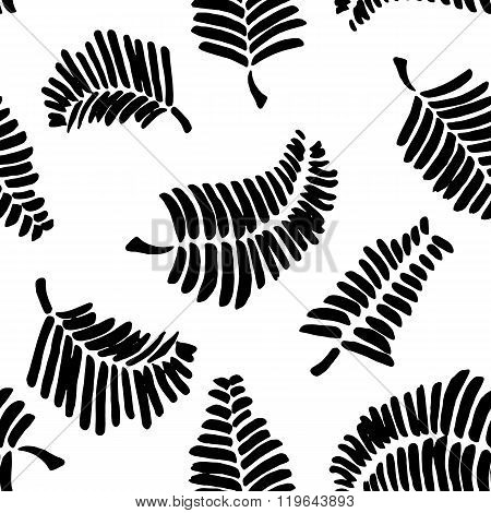 Vector seamless pattern with leaves. Monochromatic Seamless pattern with feathers.