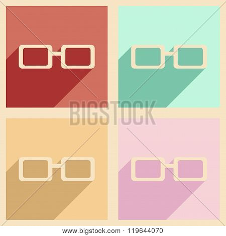 Flat with shadow concept and mobile application eyeglasses