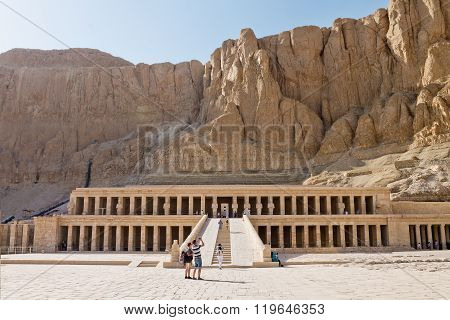 Luxor, Egypt - October 1: Tourists take pictures of ancient temple of of Queen Hatshepsut October 1, 2015 in Luxor, Egypt