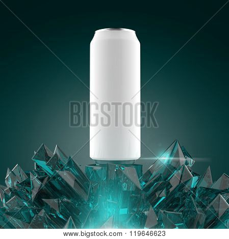 blank white beer can mock-up on shiny fed fire looking crystal base render