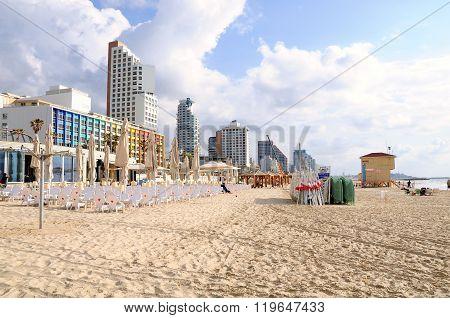 Tel Aviv urban beach.