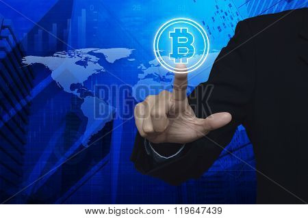 Businessman Pressing Bitcoin Icon Over Map And City Background, Choosing Bitcoin Concept, Elements O