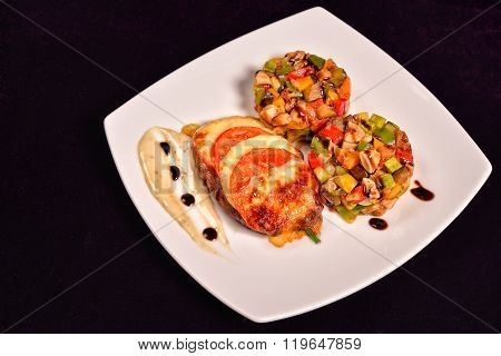 Chicken Breast Parmesan Crust, Cranberry Sauce And A Ratatuille Vegetables (eggplant, Peppers, Zucch
