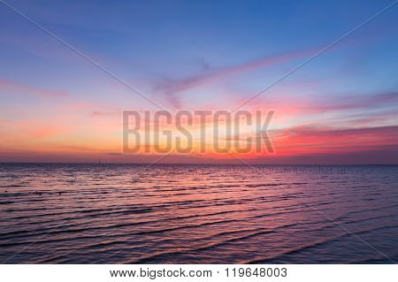 Beautiful Skyline over seacoast after sunset