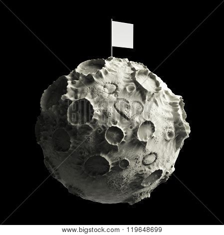 Moon with craters heart scratched surface and blank flag on top. High quality rendering. Isolated.