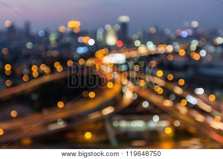 Abstract blurred bokeh city downtown road interchange
