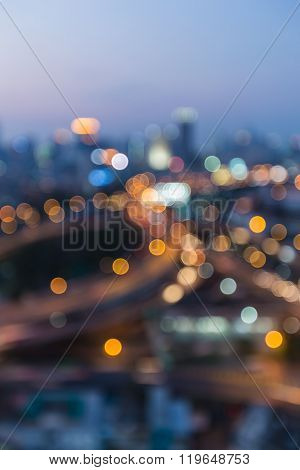 Blurred bokeh light city highway interchanged night view