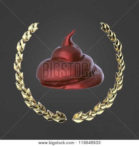 Glossy piece of shit surrounded with golden laurel wreath isolated on dark background badge