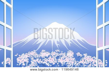 Cherry Blossoms Around Mount Fuji