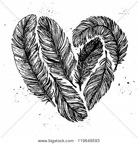 Hand Drawn Vector Vintage Illustration - Feathers In Love. Ink And Feather