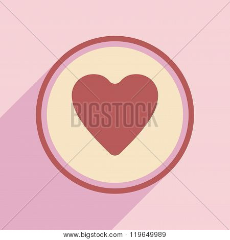Flat with shadow icon and mobile application Cardiology