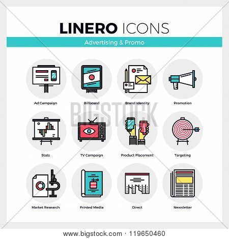 Advertising And Promo Linero Icons Set