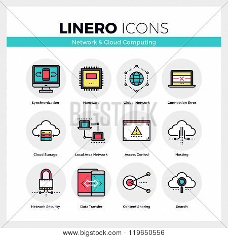 Cloud Computing Linero Icons Set