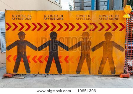 Construction Site Border With Warning Signs