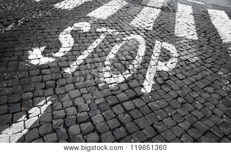 Pedestrian Crossing Road Marking Zebra And Stop Label