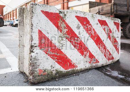 Road Block With Warning Red White Diagonal Striped Pattern
