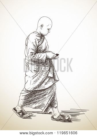 Sketch of walking buddhist monk with smart phone, Hand drawn illustration