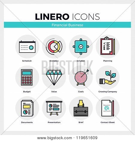 Financial Business Linero Icons Set