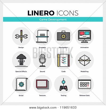 Game Development Linero Icons Set