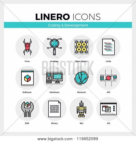 Coding And Development Linero Icons Set