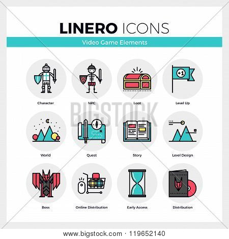 Video Game Elements Linero Icons Set