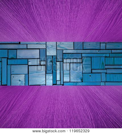 Purple And Blue Wooden Background / Backdrop, Wood In Diminishing Perspective.