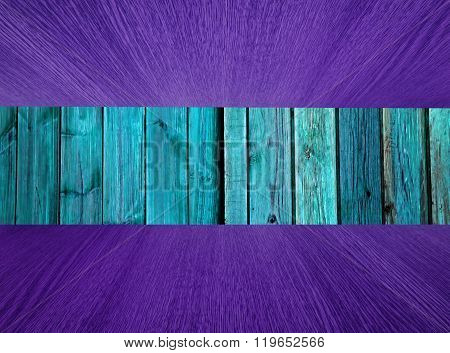 Wood Background, Turquoise, With Purple Flooring / Ceiling.