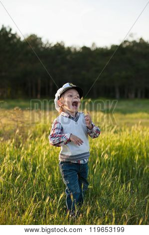 boy captain sailor spring forest funny smile joy laughter kid