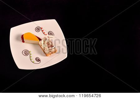 Classical Orange Cheese Cake With Cherry Sauce And Dessert With Mascarpone And Coffeecake On A White