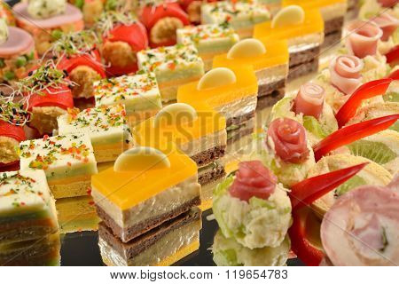 Close Up Of Antipasto And Catering Platter With Different Appetizers, Restaurant Menu, Selective Foc