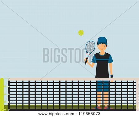 Young man playing tennis on the tennis court. Vector illustration