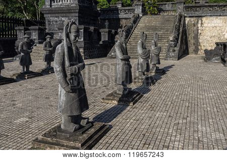 Statues  In Imperial Khai Dinh Tomb In Hue, Vietnam