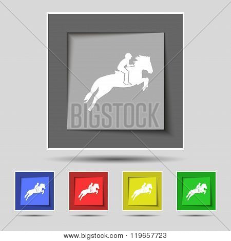 Horse Race. Derby. Equestrian Sport. Silhouette Of Racing Horse Icon Sign On Original Five