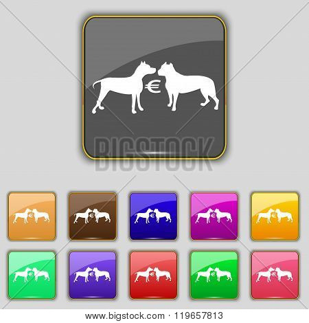 Betting On Dog Fighting Icon Sign. Set With Eleven Colored Buttons For Your