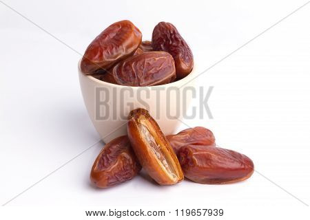 Dried Dates Fruit On White Background