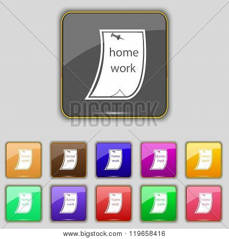 Homework Icon Sign. Set With Eleven Colored Buttons For Your Site.