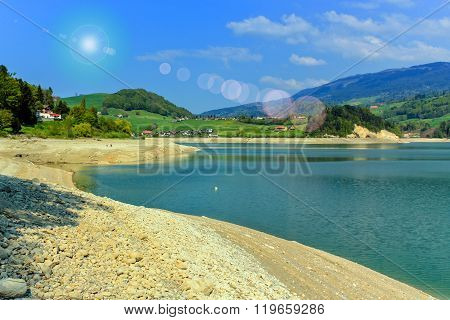 Gruyeres lake in summer, Fribourg canton, Switzerland