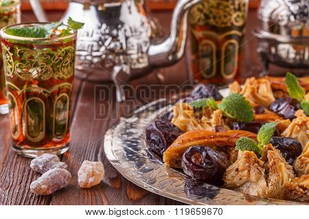 Moroccan Mint Tea The Traditional Glasses With Sweets.
