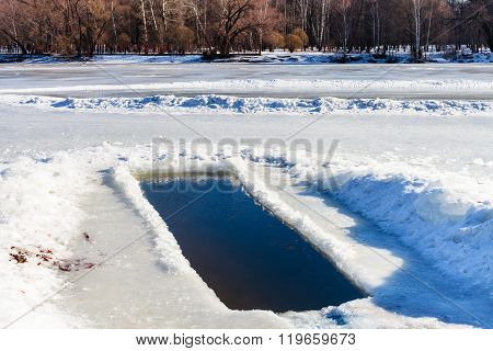 Ice-hole In Frozen Lake