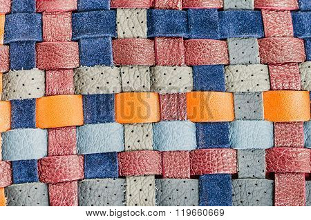 Background From Flat Braided Leather Tapes