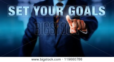 Business Coach Touching Set Your Goals