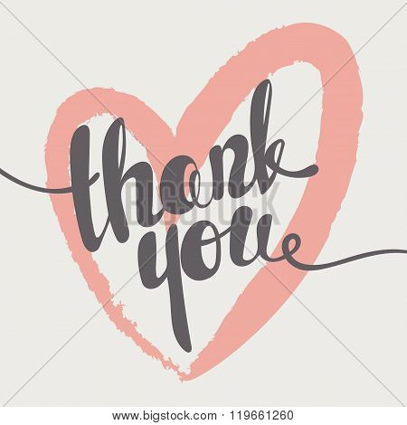 Thank you lettering. Hand written Thank you poster. Heart