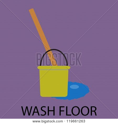 Wash Floor Icon Flat Design