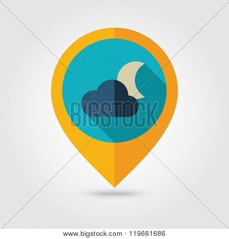 Cloud Moon flat pin map icon. Meteorology. Weather