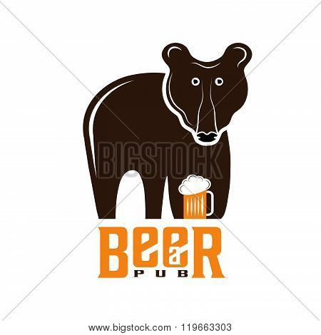 Bear Beer Concept Vector Design Template . Concept Of Graphic Clipart Work