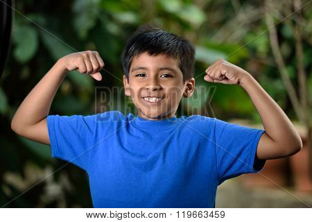 Latino Boy Show Muscles