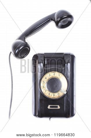 old rotary phone concept isolated on white